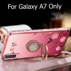 Adorable Auora Pink Flowers Luxurious Diamond Stand Ring Holder Soft Silicone Transparent Back Cover for Samsung Galaxy A7 2018 (Rose Gold)